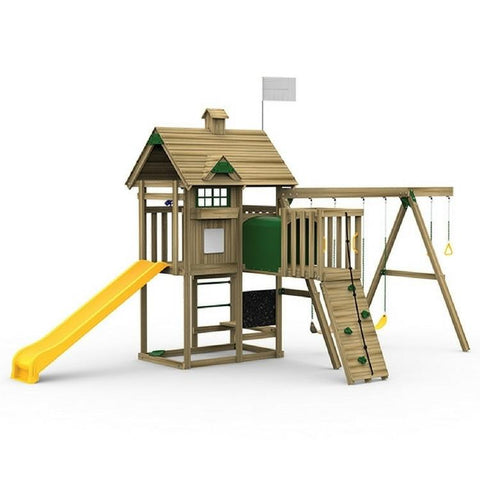 Playstar All Pro Bronze Factory Built Wooden Playset With Play Tunnel - Jumpin Jungle