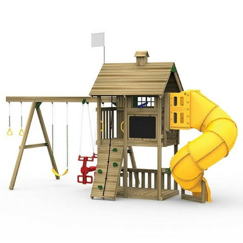 Playstar Grand Slam Silver Factory Built Wooden Playset W/Spiral Slide - Jumpin Jungle
