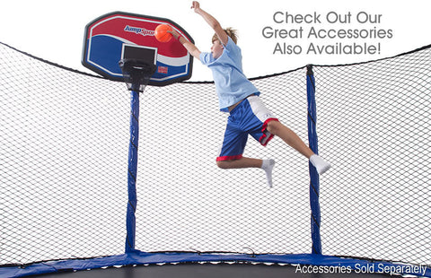 Jumpsport 14Ft Staged Bounce Trampoline Round With Enclosure Net Combo - Jumpin Jungle