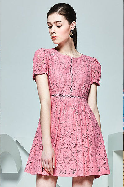LACE LADDERING SKATER DRESS