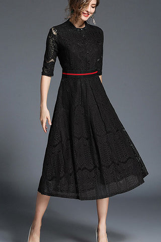 IRIS LACE MIDI DRESS - BLACK