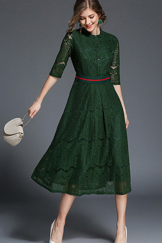 IRIS LACE MIDI DRESS - EMERALD