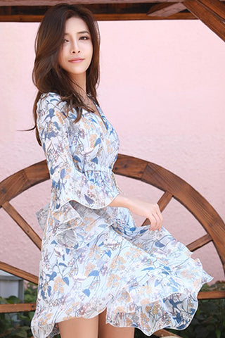 KALI FLOW FLARE SLEEVE DRESS