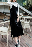 BIANCA VELVET MIDI DRESS - BLACK