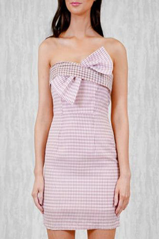 BOW CHECK MINI DRESS - PINK