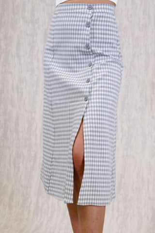 GINGHAM MIDI SKIRT - BLUE