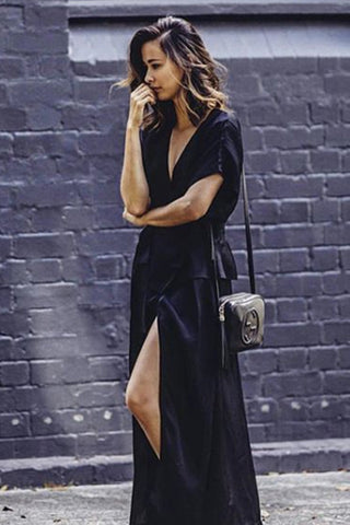 ISABELLA WRAP DRESS - BLACK