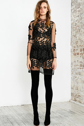 MARILYNN FEATHER LACE MINI DRESS