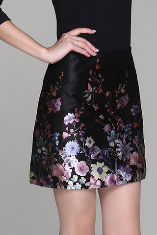 MARNI FLORAL LEATHER SKIRT