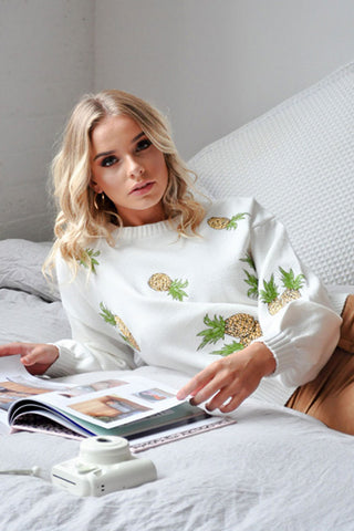 PINEAPPLE KNIT JUMPER - WHITE