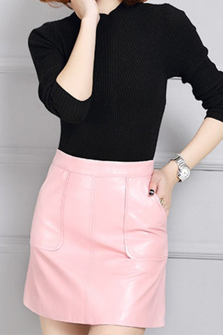 THINK PINK LEATHER SKIRT