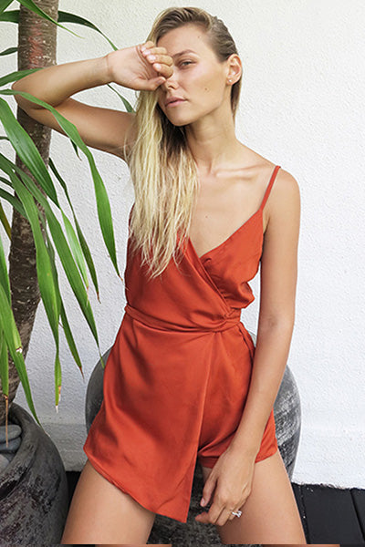 SATIN WRAP MINI ROMPER - ORANGE