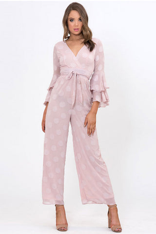 SPOTTED WIDE LEG JUMPSUIT - PINK