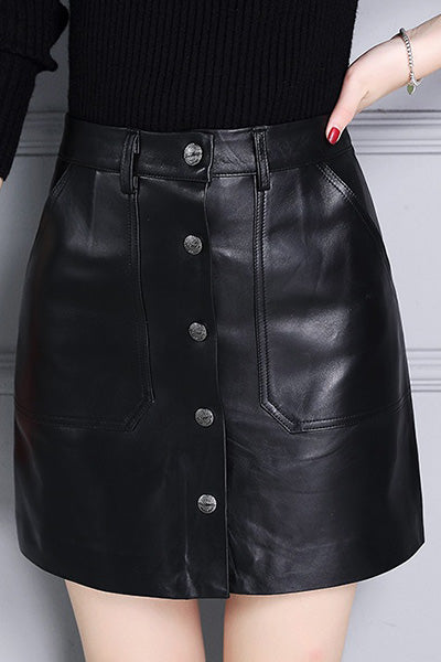 BUTTON UP LEATHER SKIRT NOW $90