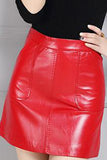 RED CHERRY LEATHER SKIRT