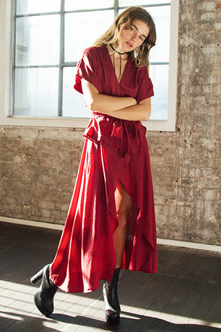 ISABELLA WRAP DRESS - BURGUNDY NOW $70