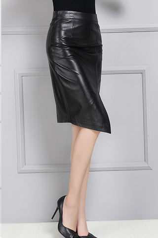 SPLIT PENCIL LEATHER SKIRT