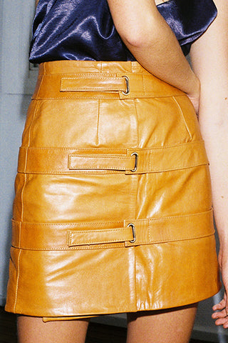 TRIPLE STRAP LEATHER SKIRT - TAN