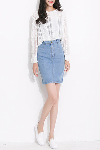 WASHED DENIM SKIRT - DENIM