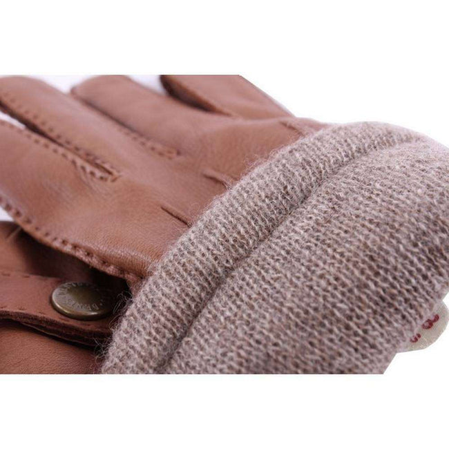 Dents Tobacco Casual Deerskin Gloves with Strap - Tan