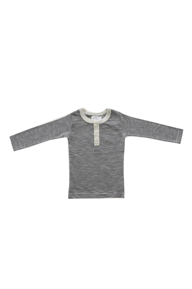 Thomas Stripe Henley Oatmeal Navy