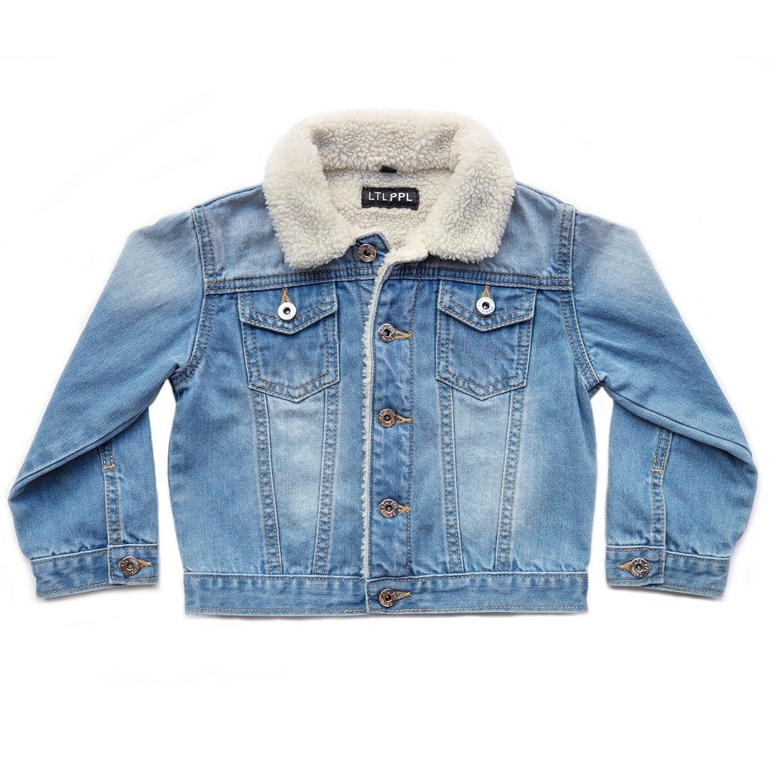 Blue Denim Sherpa Jacket