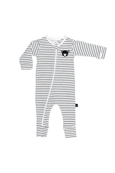 Bear Stripe Zip Long Romper Black White Stripe