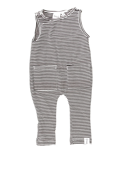 Black and White Striped Sleeveless Romper