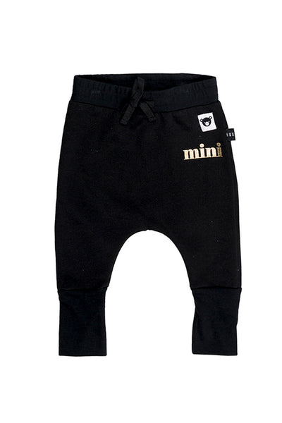 Black High Cuff Drop Crotch Pant Black