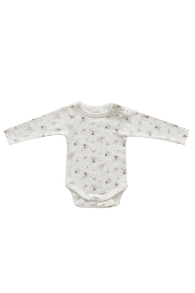 Organic Cotton Long Sleeve Bodysuit Sweet William Floral