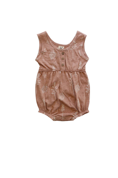 Botanic Print Bubble Romper Brown