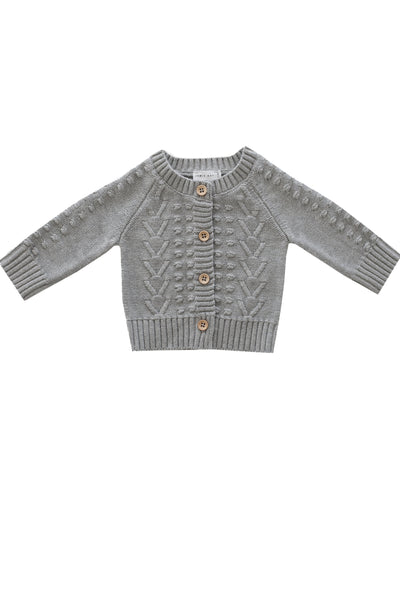 Cable Cardigan Light Grey Marle