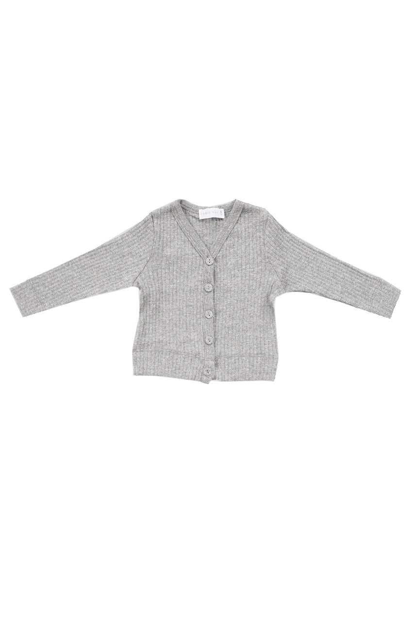Cotton Modal Cardi Light Grey Marle