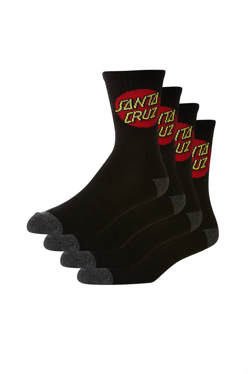 Cruz Youth Sock 4 Pack 2-8 Black