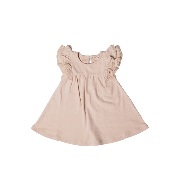 Flutter Dress Short Sleeve Rose