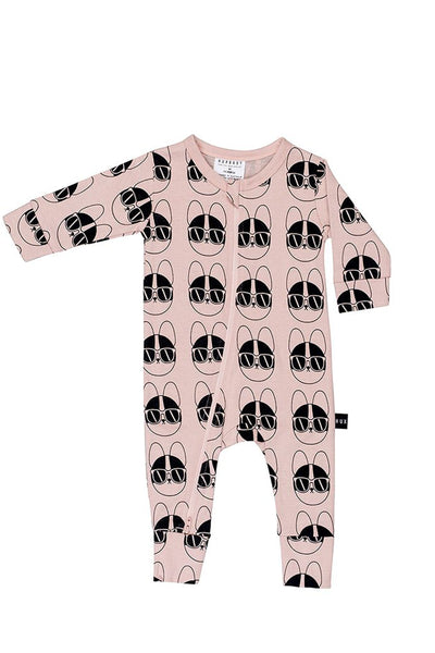 French Shades Long Zip Romper Rose Dust