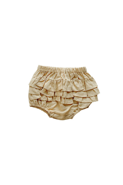 Golden Linen Ruffle Bum Bloomer