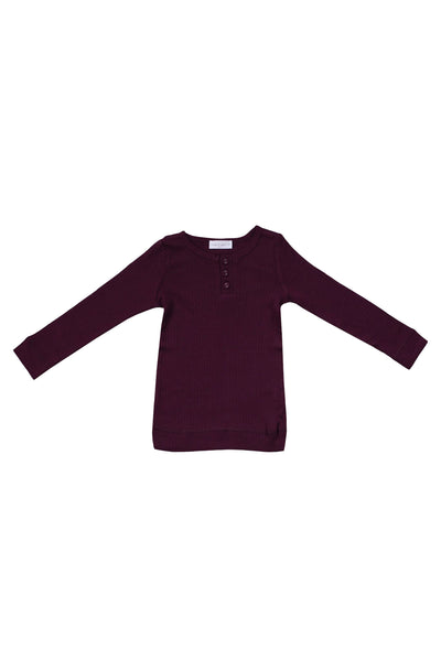 Cotton Modal Henley Mulberry