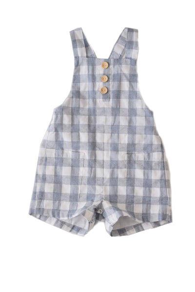 Johnny Gingham Dungarees Blue