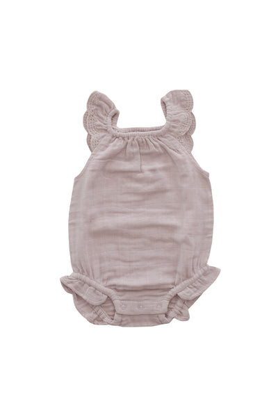 Organic Cotton Muslin Lace Playsuit Rosebud