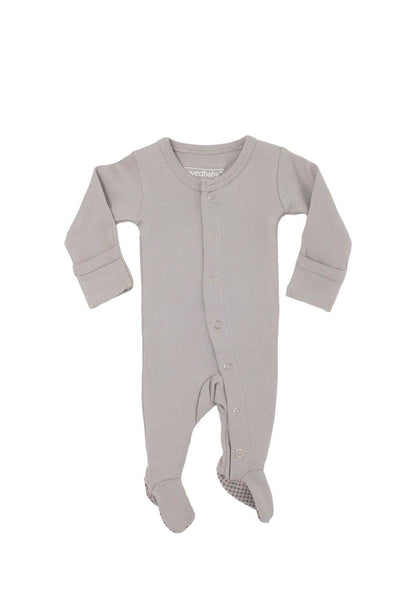 Organic Footed Overall Light Gray