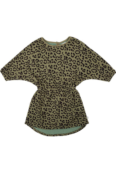 Peasant Dress Khaki Leopard