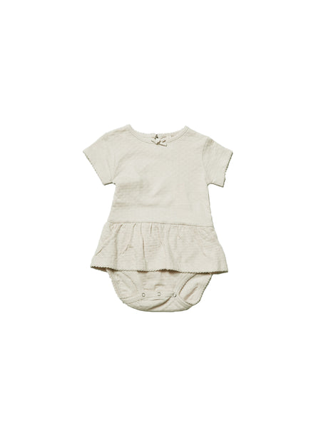 Pointelle SS Skirted Onesie Pebble