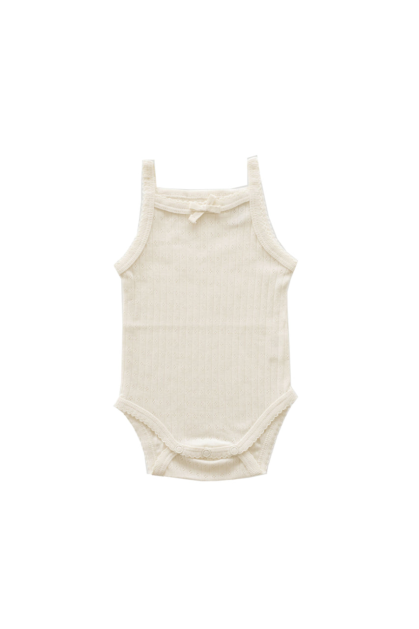 Pointelle Singlet Bodysuit Natural