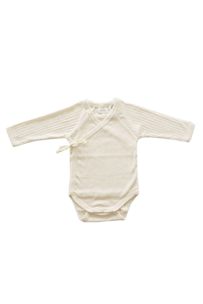 Pointelle Wrap Bodysuit Natural
