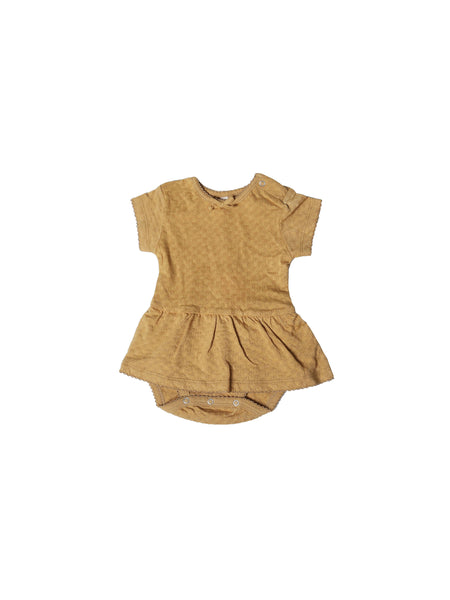 Pointelle SS Skirted Onesie Honey