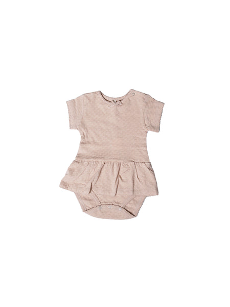 Pointelle SS Skirted Onesie Rose
