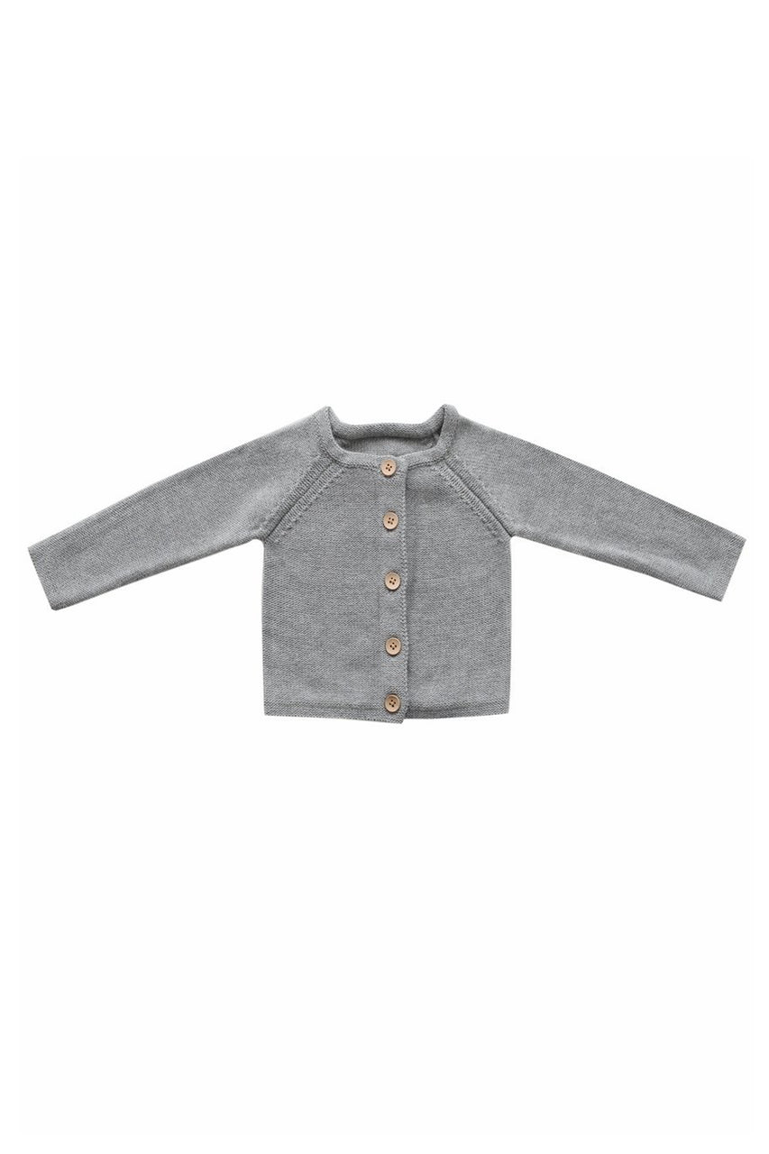 Simple Cardigan Light Grey Marle