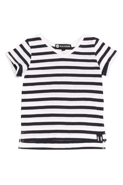 Striped V Neck T-Shirt Navy Stripe