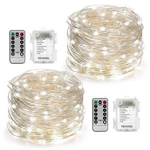 YIHONG 2 Set String Lights 8 Modes 50LED Fairy Lights Battery Operated,16.4FT Twinkle Firefly Lights with Remote Timer for Bedroom Indoor Outdoor Decor- White